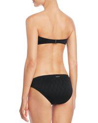 Vince Camuto Black Weave Texture Bandeau Bikini Top