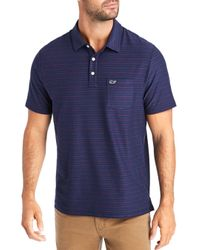 Vineyard Vines Blue Striped Classic Fit Polo Shirt for men