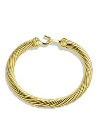 David Yurman Yellow Cable Buckle Bracelet With Diamonds And Gold