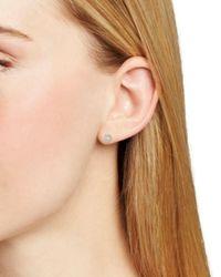 Aqua Metallic Circle Stud Earrings