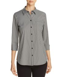 Lafayette 148 New York Black Paget Gingham Shirt