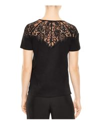 Sandro Black Blind Lace Inset Top