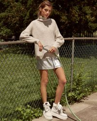 French Connection White Urban Flossy Ribbed Knit Sweater