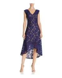 Tadashi Shoji - Blue V-neck Lace Dress - Lyst
