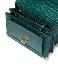 The Kooples Green Emily Croc - Embossed Leather Mini Crossbody