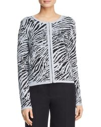 Donna Karan Black Zebra Print Jacquard Cardigan