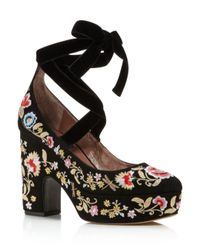 Tabitha Simmons - Black Sky Embroidered Lace Up Platform Pumps - Lyst