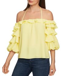 1.STATE Yellow Tiered Balloon - Sleeve Top