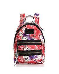 Marc Jacobs Red Spotted Lily Printed Biker Mini Backpack