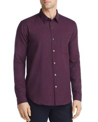 Theory Purple Rammy Gingham Flannel Regular Fit Shirt for men