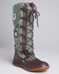 Pajar Brown Tall Lace Up Cold Weather Boots Grip