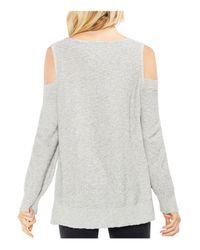 Vince Camuto - Gray Cold Shoulder V-neck Sweater - Lyst