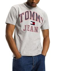 Tommy Hilfiger Gray Tommy Jeans 90's Logo Short Sleeve Tee for men