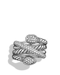 David Yurman Metallic Renaissance Crossover Ring With Diamonds
