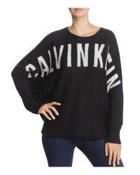 Calvin Klein - Black Sari Logo Batwing Sweater - Lyst