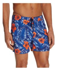 Sundek Blue Hibiscus Print Swim Trunks for men