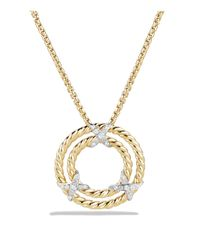 David Yurman - Metallic X Circle Pendant Necklace With Diamonds In 18k Yellow Gold - Lyst