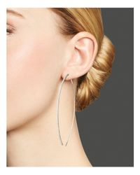 Meira T - 14k White Gold Oval Hoop Earrings With Diamonds - Lyst