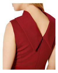 Karen Millen - Red Reverse Point Collar Pencil Dress - Lyst