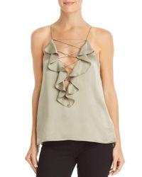 Cami NYC Multicolor Vera Ruffled Criss-cross Detail Silk Top