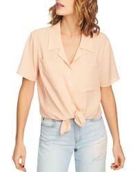 1.STATE Multicolor Short-sleeve Tie-waist Top