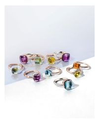 Pomellato - Multicolor Nudo Mini Ring With Faceted Lemon Quartz In 18k Rose And White Gold - Lyst