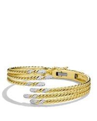 David Yurman - Yellow Willow Open Three-row Bracelet With Diamonds In Gold - Lyst
