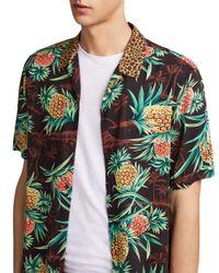 AllSaints Brown Devoir Slim Fit Button-down Shirt for men