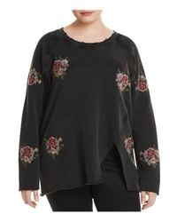 Lucky Brand Black Embroidered Rose Distressed Sweatshirt
