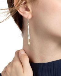 John Hardy - Metallic 18k Yellow Gold And Sterling Silver Bamboo Brushed Linear Drop Earrings - Lyst