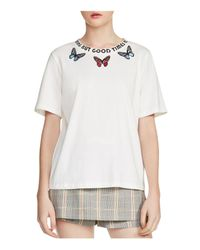 Maje White Timeo Nothing But Good Times Butterfly Graphic Tee
