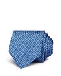 HUGO - Blue Micro-square Silk Skinny Tie for Men - Lyst