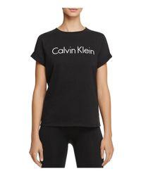 CALVIN KLEIN 205W39NYC - Black Cuffed Short Sleeve Logo Tee - Lyst
