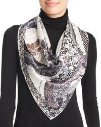 Ferragamo Black Parasol Print Silk Scarf