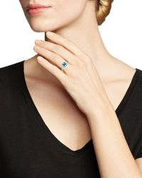 Bloomingdale's London Blue Topaz & Diamond Square Ring In 14k White Gold