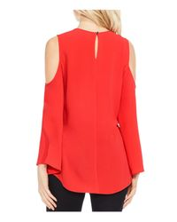 Vince Camuto Red Cold-shoulder Bell-sleeve Blouse