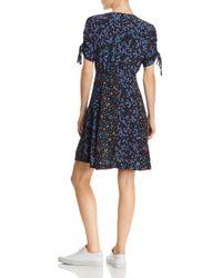 French Connection Black Aubine Floral-print Tie-sleeve Dress