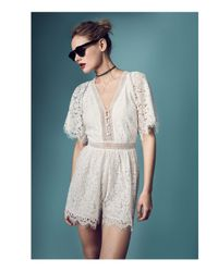 Mustard Seed White Lace Romper