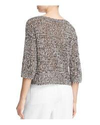 Eileen Fisher - Black Marled Open Knit Sweater - Lyst