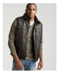 Levi's Brown Levi's Faux Leather Puffer Vest With Sherpa Lining for men