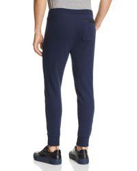 Michael Kors - Blue Leather-trimmed Jogger Pants for Men - Lyst