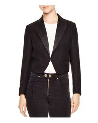 Sandro - Black Kama Structural Cropped Blazer - Lyst