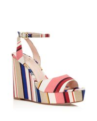 Kate Spade | Pink Dellie Striped Platform Wedge Sandals | Lyst