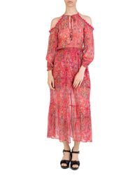 The Kooples - Pink Coral Reef Cold-shoulder Floral-print Silk Dress - Lyst