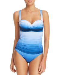 Bleu Rod Beattie - Blue Shirred Bandeau One Piece Swimsuit - Lyst