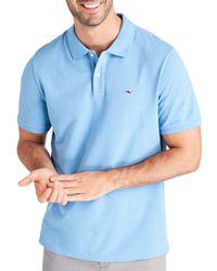 Vineyard Vines Blue Stretch Piqué Classic Fit Polo Shirt for men