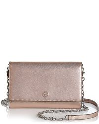 Tory Burch - Metallic Robinson Leather Chain Wallet - Lyst