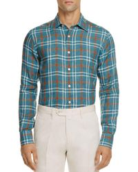 Canali Blue Plaid Linen Regular Fit Button-down Shirt for men