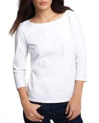 Eileen Fisher - White ' Boatneck Tee - Lyst