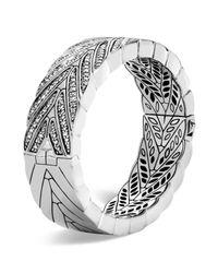 John Hardy | Metallic Sterling Silver Modern Chain Large Hinged Bangle With Diamonds | Lyst